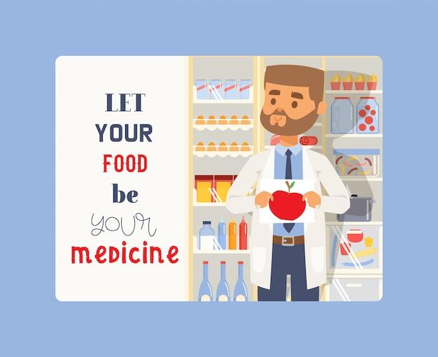 Lass dein essen deine medizin sein. mann, der bild des apfels hält. medizinischer professioneller apotheker in uniform.