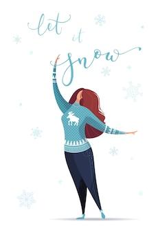Lass es schneien! flache illustration der frau in fallenden schneeflocken. weihnachtskarte vorlage.
