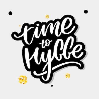 Lass uns hyggen. inspirierendes zitat für soziale medien und karten. das dänische wort hygge bedeutet gemütlichkeit, entspannung und komfort. schwarzer schriftzug auf weißem hintergrund