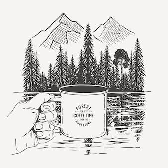 Lass uns kaffee in wäldern und seen brauen