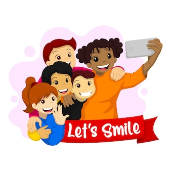 Lass uns lächeln. illustration des weltlächeltages. glückliche kinder, die ein selfie machen