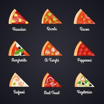 Lassen sie die dekorativen ikonen der pizza einstellen