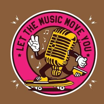 Lassen sie die musik ihr - vintage microphone character design emblem bewegen