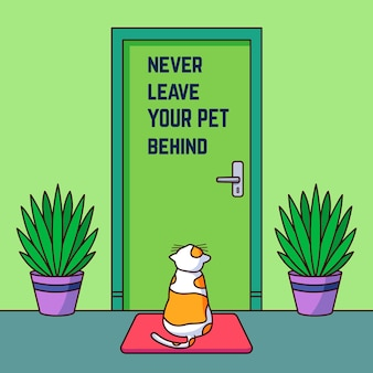 Lassen sie ihr haustier niemals mit einer katze hinter der illustration zurück