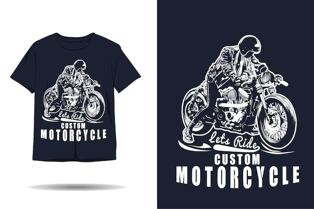 Lassen sie uns benutzerdefinierte motorrad-silhouette-t-shirt-design fahren