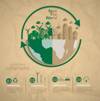 Lassen sie uns gemeinsam die welt infografik retten.