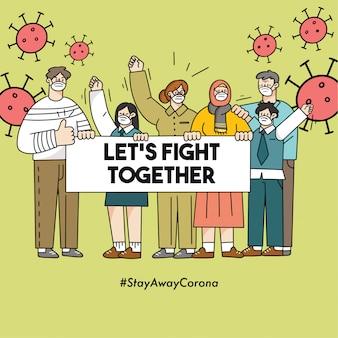 Lassen sie uns gemeinsam gegen corona covid-19 doodle illustration safety campaign kämpfen