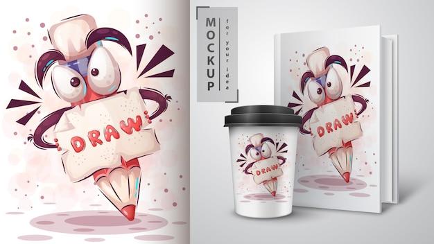 Lassen sie uns illustration und merchandising zeichnen