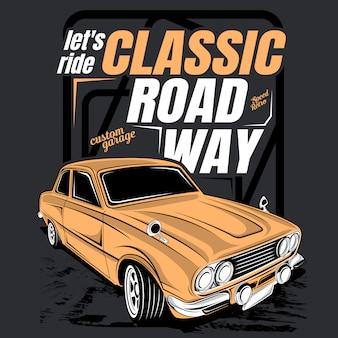 Lassen sie uns klassische straße fahren, illustration eines klassischen autos
