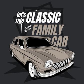 Lassen sie uns klassisches familienauto fahren, illustration eines klassischen autos