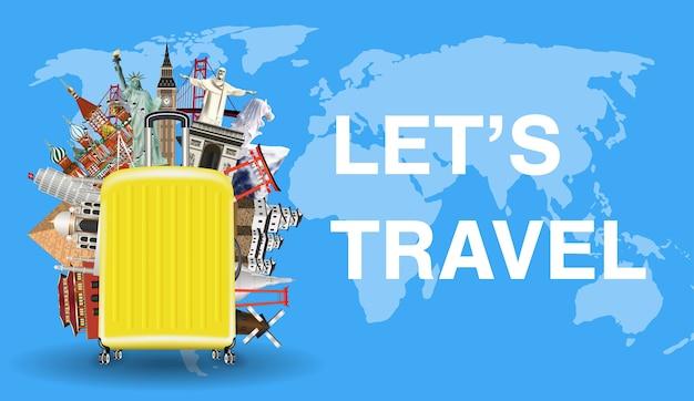 Lassen sie uns mit gepäck und wahrzeichen auf der weltkarte reisen