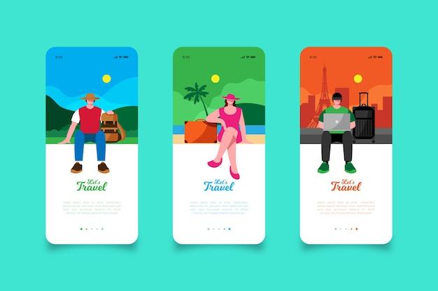 Lassen sie uns mobile app-bildschirme reisen