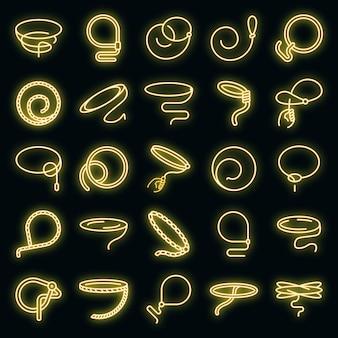 Lasso-symbole gesetzt. umrisse von lasso-vektorsymbolen neonfarbe auf schwarz