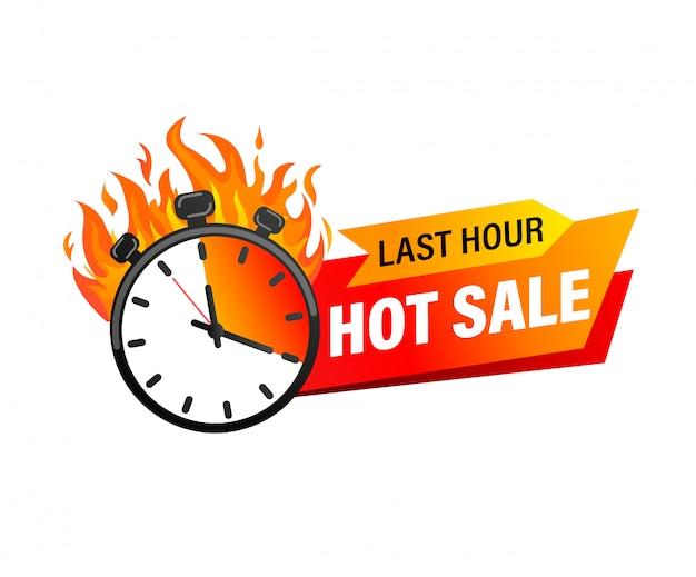 Last hour angebot banner. verkaufs-countdown-abzeichen. heiße verkäufe nur zeitlich begrenzt.