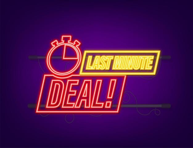 Last-minute-deal-button-zeichen, wecker-countdown-logo. neon-symbol. vektor-illustration.