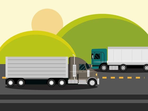 Lastwagen, die auf asphaltstraße die grünen felder in der ländlichen landschaftsillustration bewegen