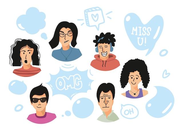 Lat avatare und sprechblasen menschen emotionale gesichter und sprechblasen männer und frauen reden