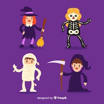 Lat-design der halloween-kindersammlung im flachen design
