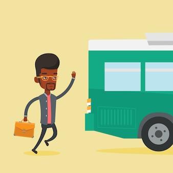 Latecomer mann läuft für den bus.