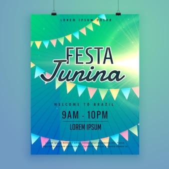 Lateinamerikanisches festa junina festivalplakatfliegerentwurfsschablone