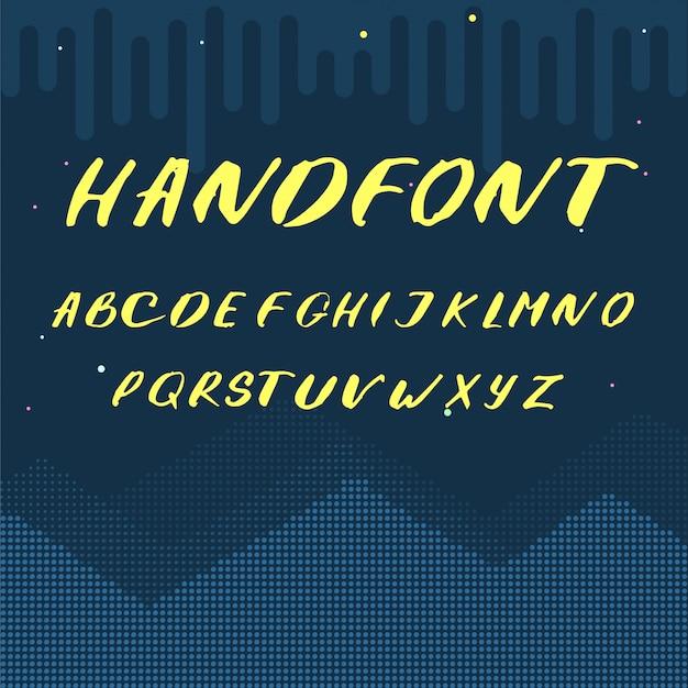Lateinische alphabetbuchstaben - gelbe handgeschriebene schrift