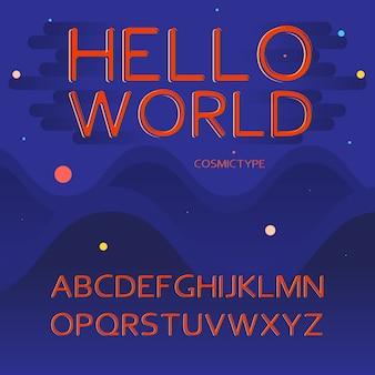 Lateinische alphabetbuchstaben - raum, kosmisches konzept