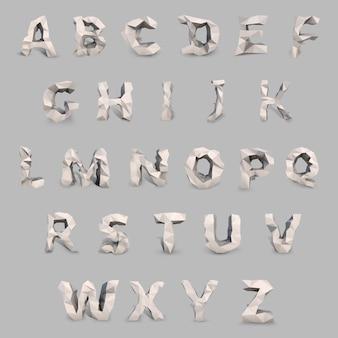 Lateinische schrift im low-poly-stil. virtuelle objekt vektor konzept