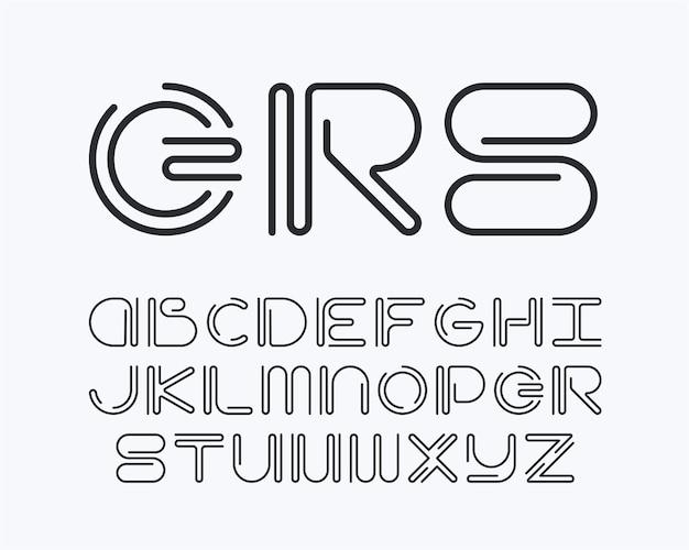 Lateinische schriftart der gekrümmten linie des englischen alphabets.