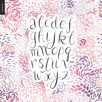 Lateinisches alphabet des handgeschriebenen skriptes des vektors auf dem hintergrund