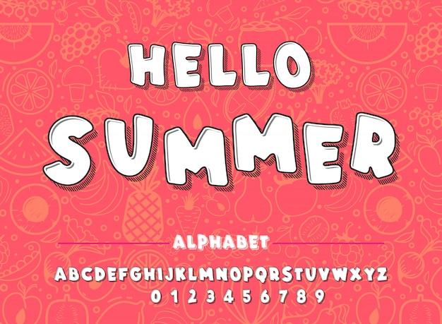 Lateinisches alphabet. hallo sommerschriftart in der netten karikaturart. für dein design