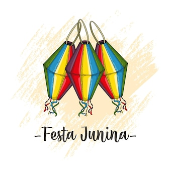 Laternenhandzeichnung für festa junina