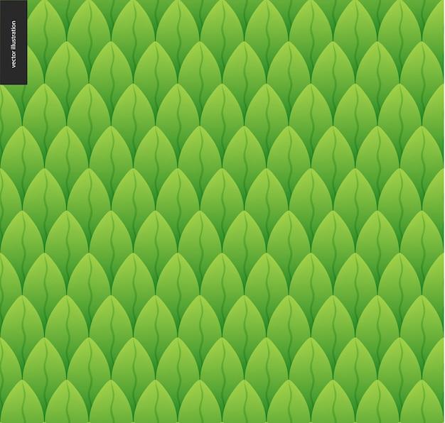Laub nahtlose muster. vektor catroon hand gezeichnetes muster des grünen blattes nahtlose