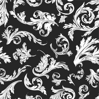 Laub und vintage blätter nahtloses muster von monochromen skizzen umriss auf schwarz. hintergrund oder druck mit flora, stoff oder textur. zimmerpflanzen und details des blühenden vektors im flachen stil