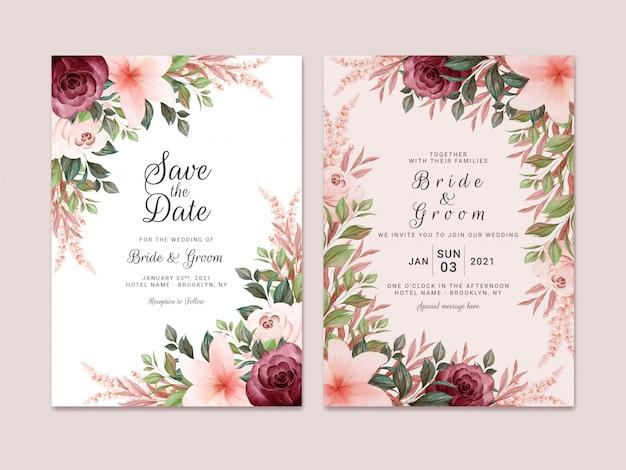 Laubhochzeitseinladungsschablone gesetzt mit burgunderroter und brauner aquarellblumenranddekoration. designkonzept für botanische karten