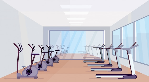 Laufbänder und stationäre fahrräder moderne ausrüstung sportaktivitäten gesunder lebensstil konzept leer keine menschen fitnessstudio innenarchitektur horizontal