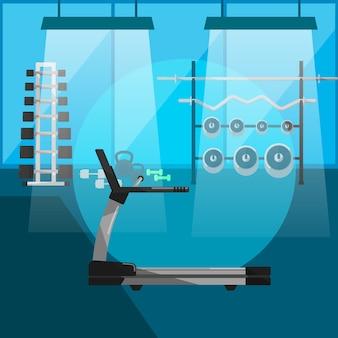 Laufband im fitnessstudio mit geräten