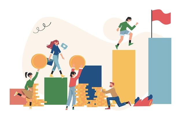Laufen die treppe zum ziel hinunter in form einer flagge, karriereplanung, karriereentwicklungskonzept
