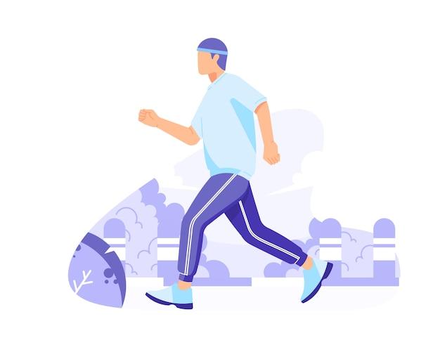 Laufen für gesundheit in der flachen illustration des parkvektors