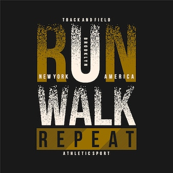 Laufen gehen, wiederholen sie den abstrakten grafischen typografievektor