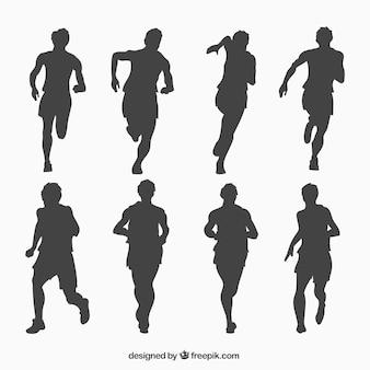 Laufen mann silhouetten sammlung Premium Vektoren