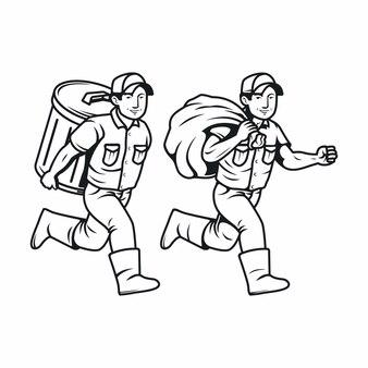Laufen mit papierkorb, junk-man-charakter in schwarz und weiß
