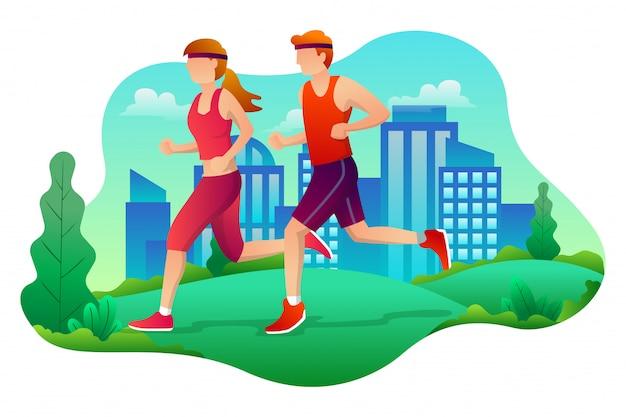 Laufen paar am stadtpark im flachen stil
