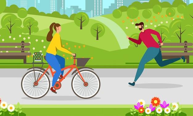 Laufen radfahren gesunder lebensstil motivieren banner