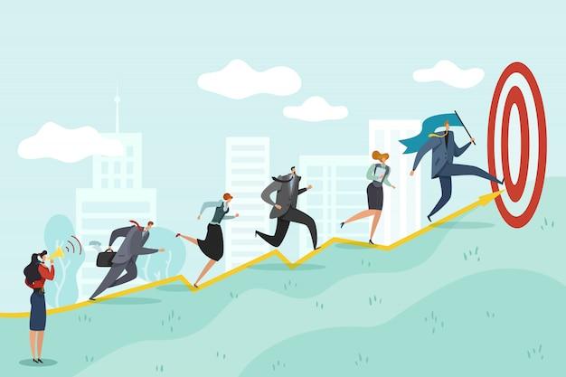 Laufen zum ziel. geschäftsleute, die zum erfolg rasen corporate professional erreichen, ehrgeiziges zielkonzept