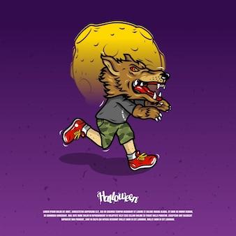Laufende angst mit werwolfmaskenillustration