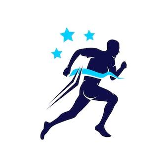 Laufende emblem-logo-design-vorlage für die meisterschaft
