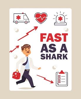 Laufende erste hilfe doktors, illustration. plakat mit krankenwagenikonen und platz für text. männlicher doktor der zeichentrickfilm-figur beeilt sich, einem patienten zu helfen
