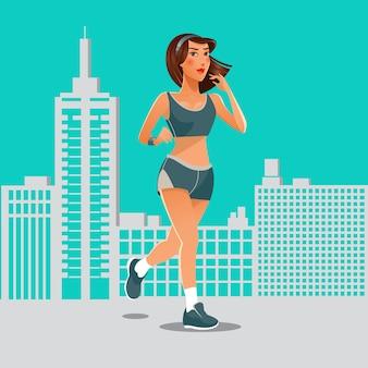 Laufende frau. passendes mädchen, das sportübungen tut. frau läuft in der stadt.