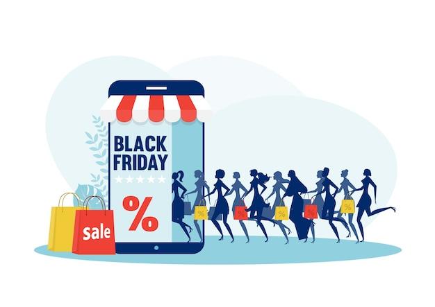Laufende frau silhouette mit einkaufstaschen. schwarzer freitag-verkauf auf ladenmobil
