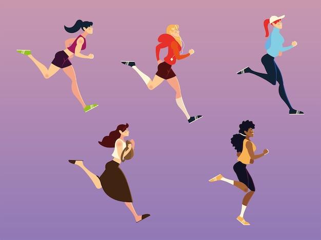 Laufende frauen, die sport und andere aktivitäten illustration ausführen